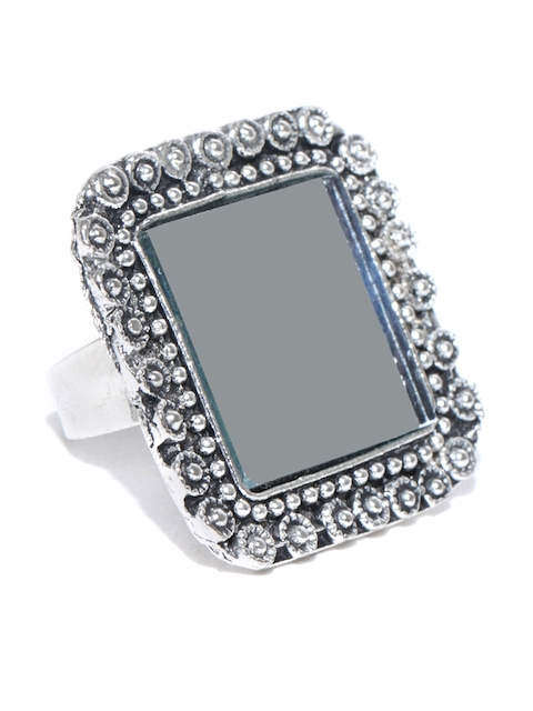 Chika Oxidised Silver-Toned Mirror Ring