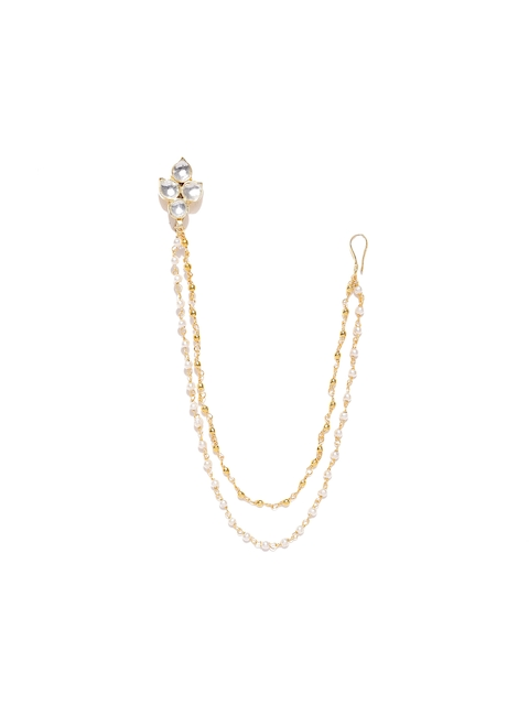 Chika Gold-Toned Kundan Stone-Studded Nose Ring With Chain