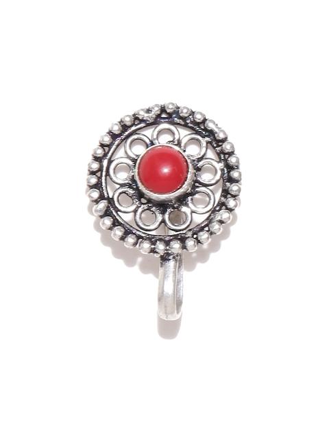 Chika Oxidised Silver-Toned Stone-Studded Nosepin