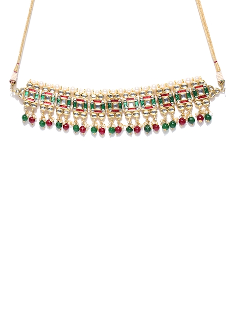 Chika Red & Green Beaded Kundan Choker Jewellery Set