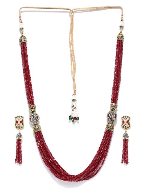 Chika Maroon & Antique Gold-Toned Beaded Layered Jewellery Set