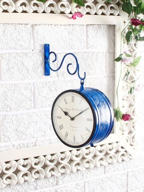 Unravel India Blue Round Solid Analogue Wall Clock