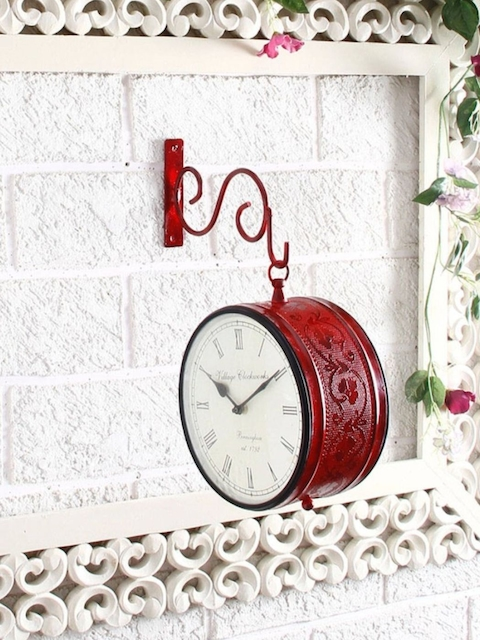 Unravel India Red Round Solid Analogue Wall Clock