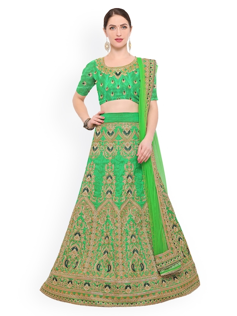 Styles Closet Green Semi-Stitched Lehenga & Blouse with Dupatta