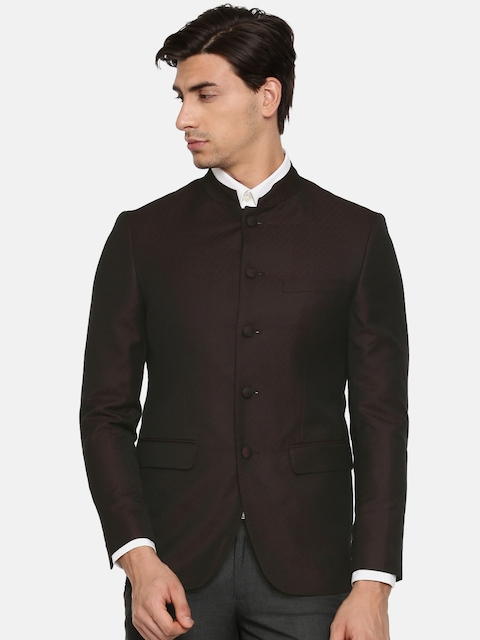Peter England Brown Self-Design Neo Slim Fit Single-Breasted Casual Blazer