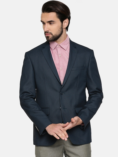 Peter England Navy Blue Single-Breasted Neo Slim Fit Formal Blazer