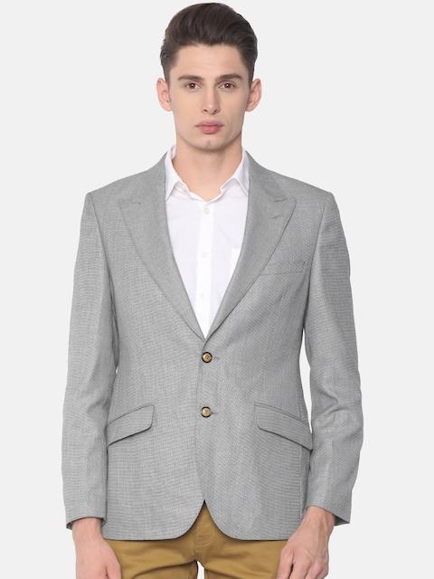 Raymond Grey Single-Breasted Textured Italian Cut Smart Casual Blazer