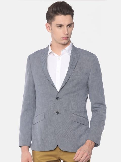 Raymond Men Blue Self-Design Slim Fit Single-Breasted Flexi Formal Blazer