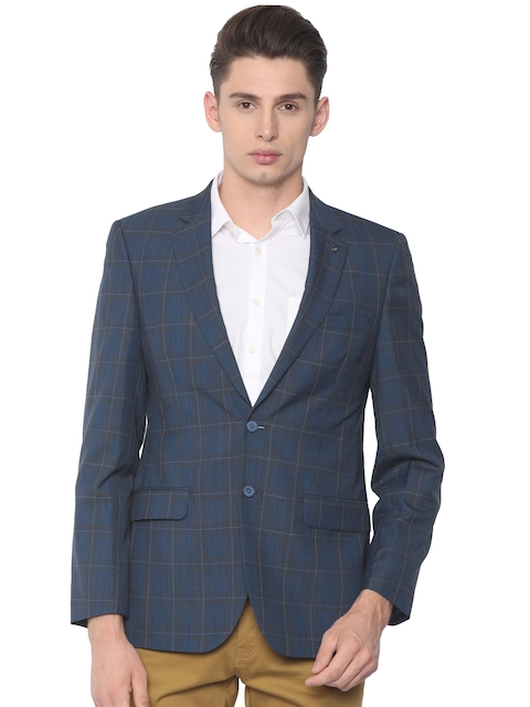 Raymond Men Blue Checked Contemporary Fit Single-Breasted Smart Casual Blazer