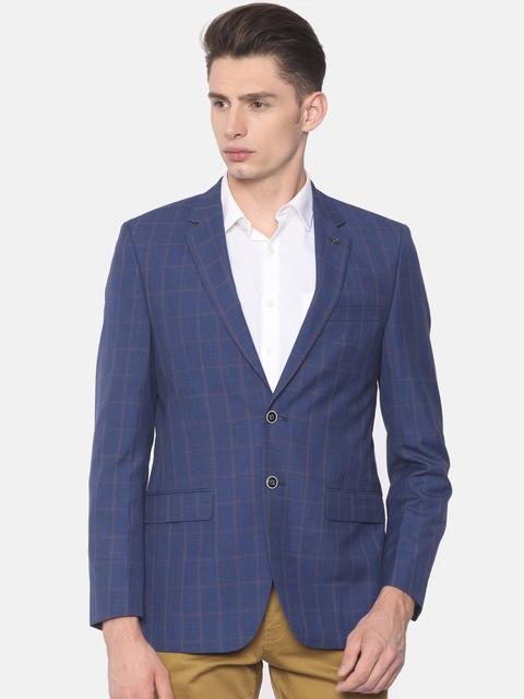 Raymond Blue & Orange Single-Breasted Checked Contemporary Fit Casual Blazer