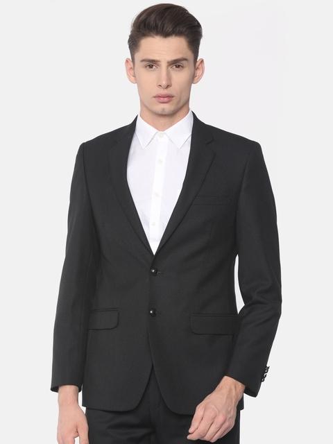 Raymond Men Black Contemporary Fit Single-Breasted Formal Blazer
