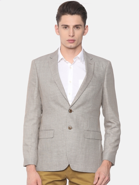 Raymond Men Beige Self-Design Contemporary Fit Single-Breasted Formal Blazer
