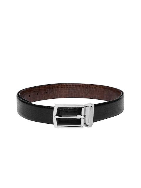 Louis Philippe Men Black & Brown Textured Reversible Formal Leather Belt