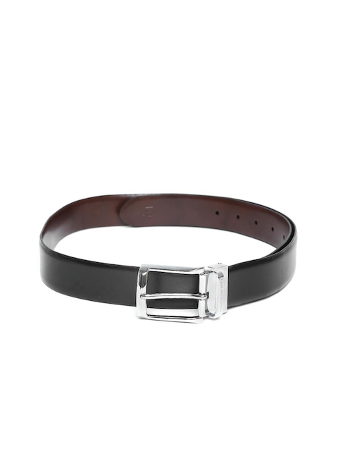 Louis Philippe Men Black & Brown Solid Reversible Leather Belt