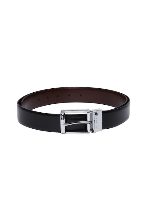 Louis Philippe Men Black & Brown Solid Reversible Formal Leather Belt