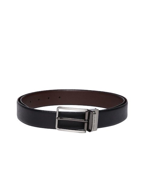 Louis Philippe Men Black & Brown Textured Reversible Leather Belt