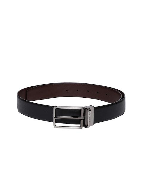 Louis Philippe Men Black & Brown Reversible Textured Belt