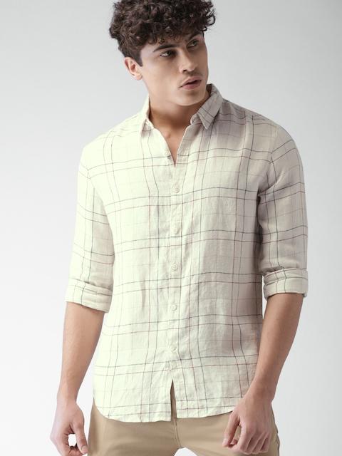 Levis Men Beige Linen Slim Fit Checked Casual Shirt