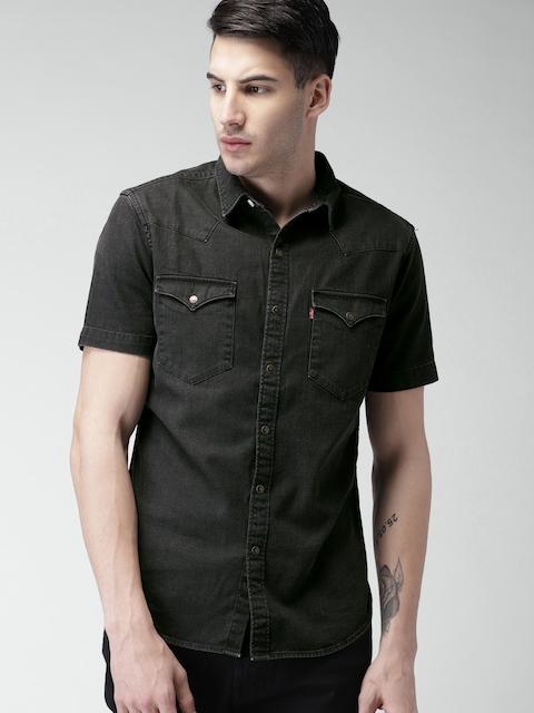 Levis Men Black Slim Fit Faded Casual Shirt