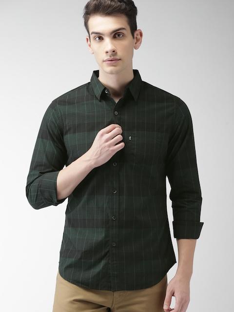 Levis Men Black & Green Regular Fit Checked Casual Shirt
