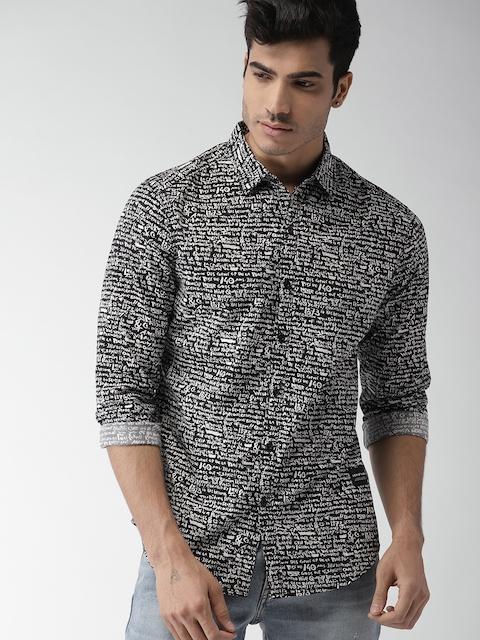 Levis Men Black & White Printed Casual Shirt