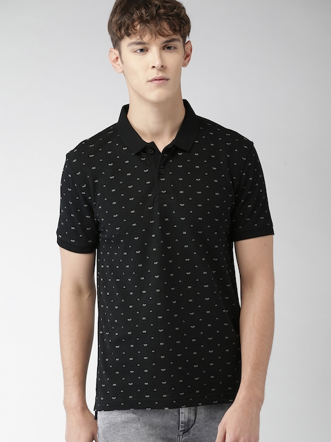 Levis Men Black Printed Polo Collar T-shirt