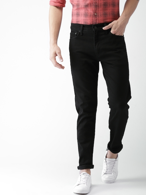 Levis Men Black Slim Tapered Fit Mid-Rise Clean Look Stretchable Jeans