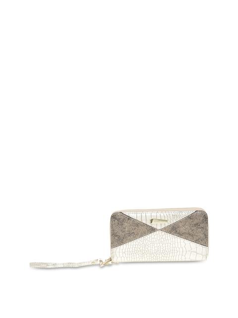 ESBEDA Women Silver-Toned & Grey Solid Zip Around Wallet