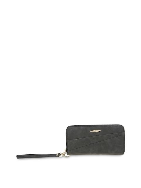 ESBEDA Women Charcoal Solid Zip Around Wallet