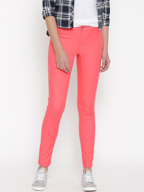 Puma Women Coral Pink Garment Dyed Solid Trousers