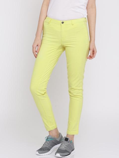 Puma Women Yellow Garment Dyed Flat-Front Trousers
