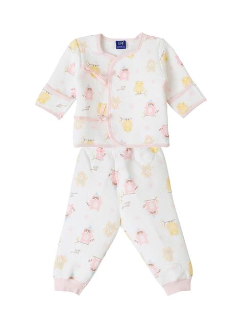 Lilliput Unisex White & Pink Printed T-shirt with Pyjamas