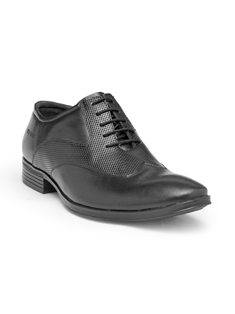 Red Chief Men Black Leather Textured Formal Oxfords