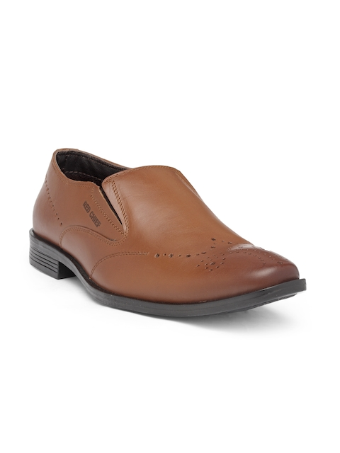 Red Chief Men Tan Brown Leather Semiformal Slip-Ons