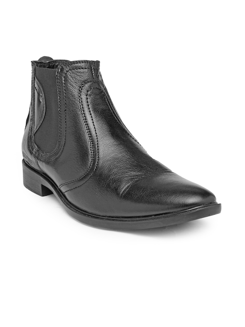 Red Chief Men Black Solid Leather Mid-Top Flat Boots