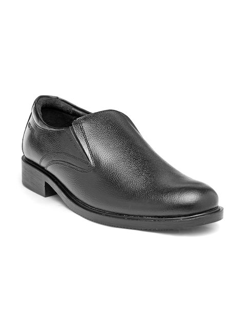 Red Chief Men Black Leather Formal Slip-Ons