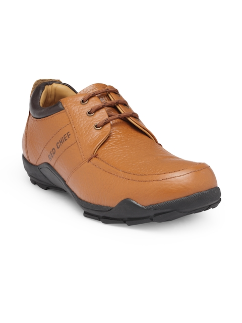 Red Chief Men Tan Brown Leather Derbys
