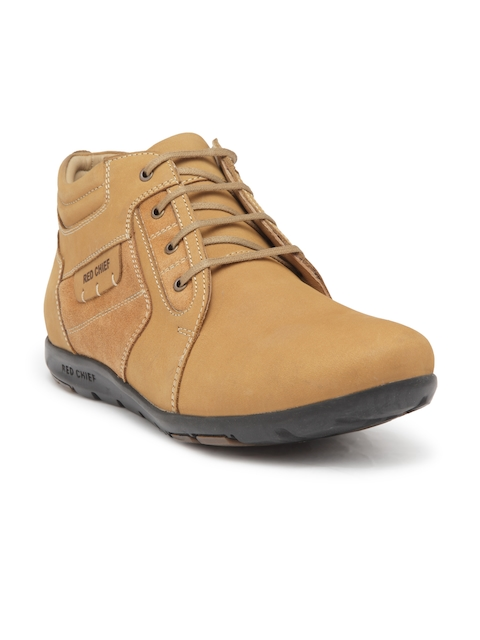 Red Chief Men Tan Brown Leather Flat Boots
