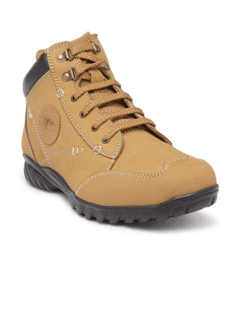 Red Chief Men Tan Brown Solid Leather Mid-Top Flat Boots