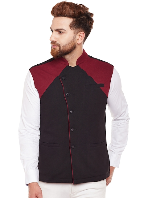 Hypernation Men Black & Maroon Single-Breasted Waistcoat