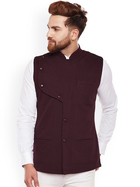 Hypernation Men Brown Single-Breasted Waistcoat