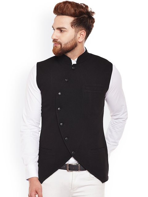 Hypernation Men Black Single-Breasted Waistcoat