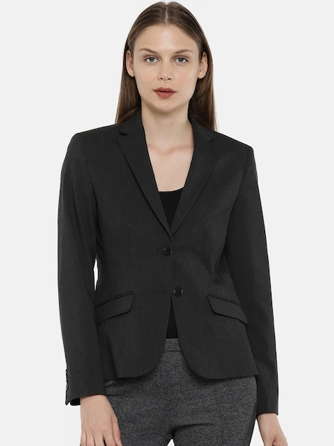 Arrow Sport Woman Charcoal Grey Solid Single Breasted Blazer