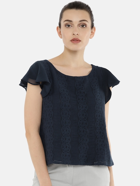 Arrow Woman Women Navy Blue Solid Top