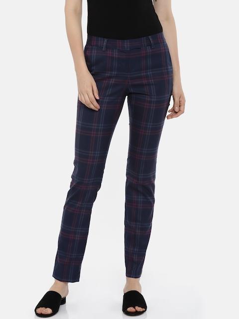Arrow Woman Women Navy Blue Regular Fit Checked Regular Trousers