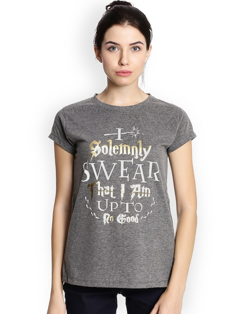 Harry Potter by Free Authority Women Grey Melange Printed Round Neck T-shirt
