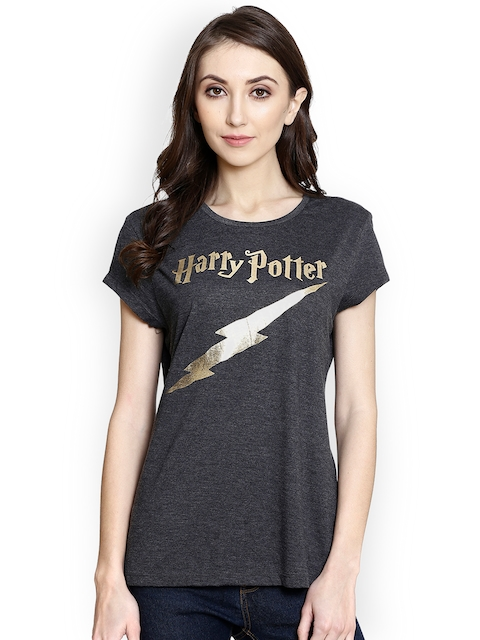 Harry Potter by Free Authority Women Grey Melange & Gold Printed Round Neck T-shirt