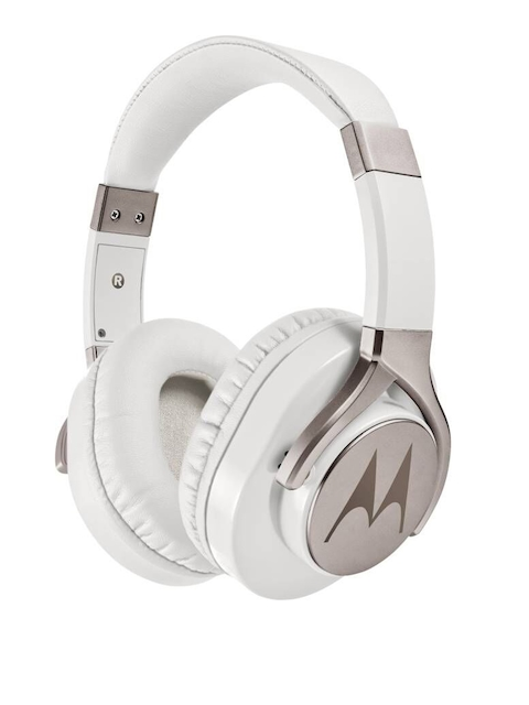 Motorola White & Pink Pulse Max Wired Headphone With Mic