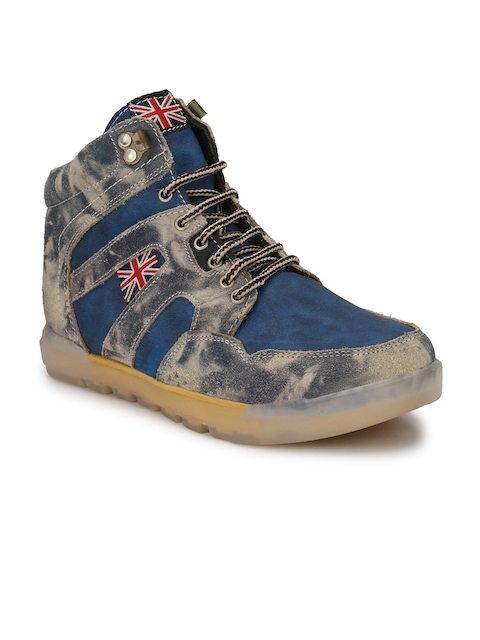 Eego Italy Men Blue Printed Synthetic Mid-Top Flat Boots