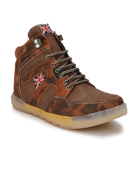 Eego Italy Men Brown Solid Synthetic Mid-Top Flat Boots